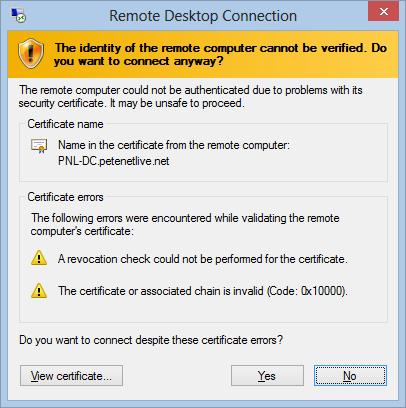 RDP Certificate Error