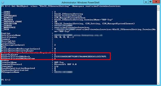 Show RDP Certificate via PowerShell