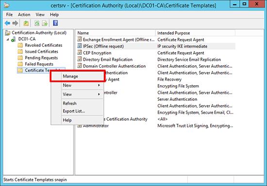 IPSEC certificate template