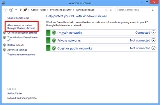 Allow Windows Firewall