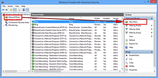 Inbounf Windows Firewall Exception