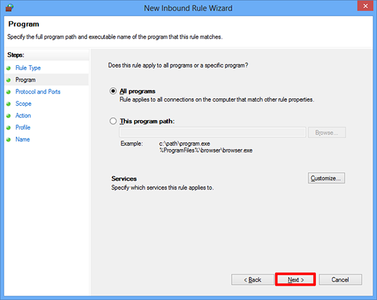 Allow program through Windows firewall