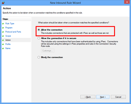 Windows 8 Firewall Exception