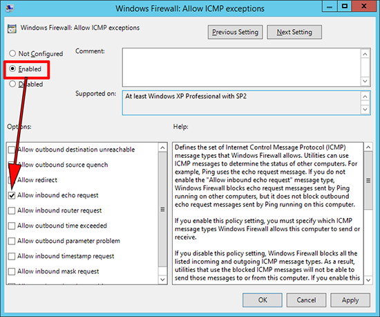 allow inbound icmp group policy
