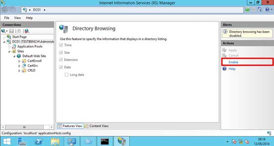 Enable Web Directory Browsing in IIS8