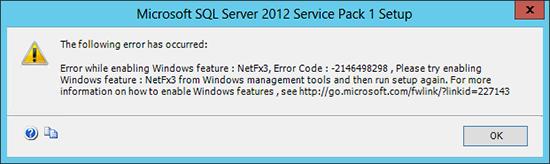 Error installing NetFx3