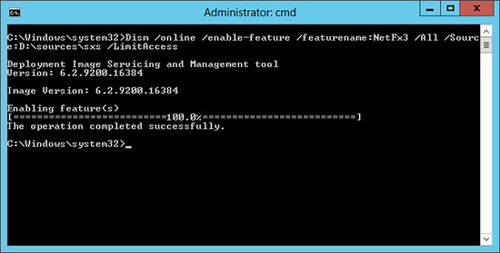 Install .net command Server 2012