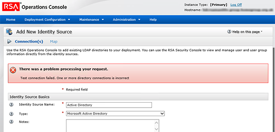 RSA There was a problem processing you request