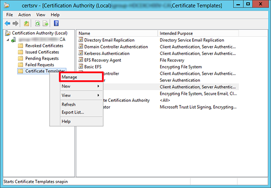 Server 2012 Manage Certificates