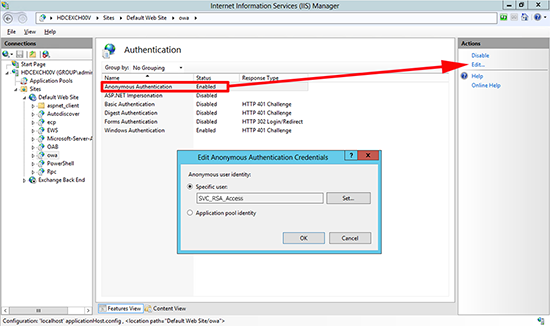 RSA for OWA 2013 Service Account