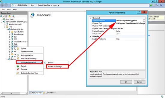 RSA for OWA 2013 App Pool