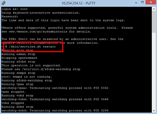 ESX restart SSH