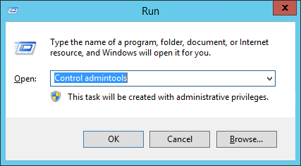 Windows Run admintools