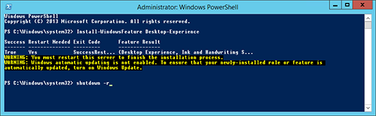 Powershell Reboot the Server