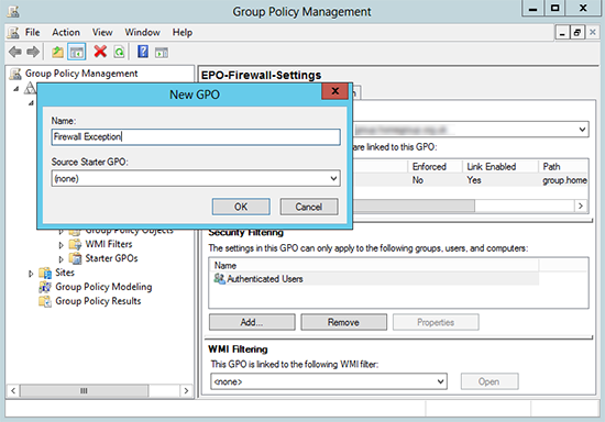Firewall Group Policy Create