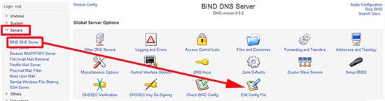 Webmin BIND DNS Edit