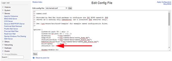 Webmin BIND config file