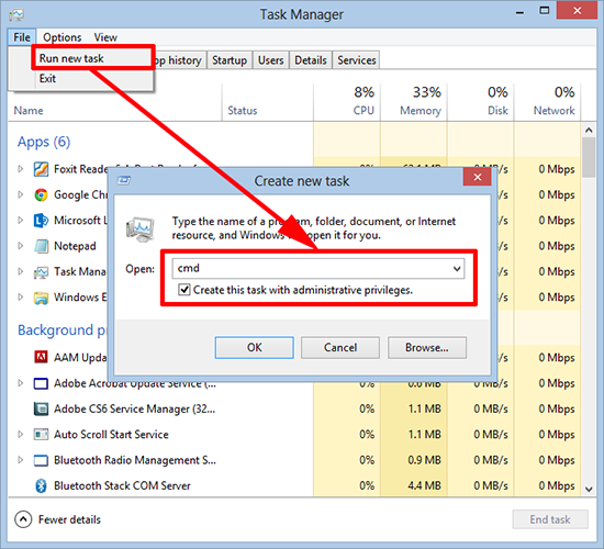 Task Manager launch command window as admin