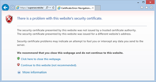 There is a problem with this websites seccurity certificate