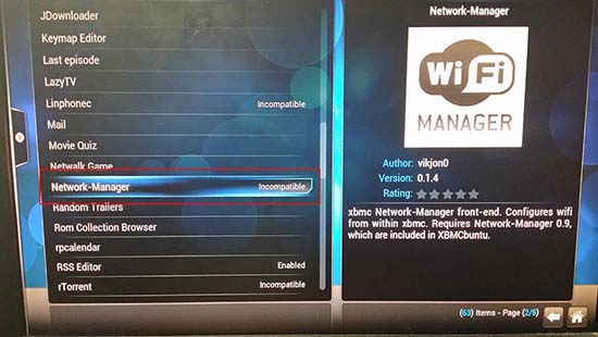 XBMC Network Manager Incompatible