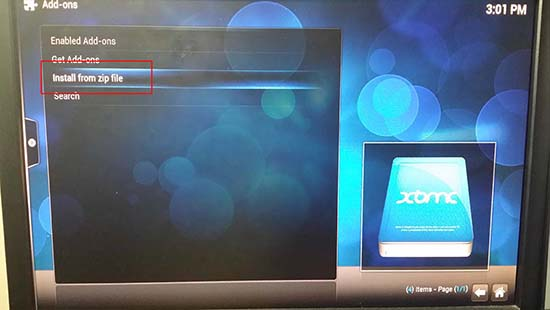 XBMC install from zip file