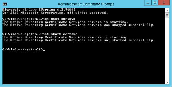 Restart Certificate Services