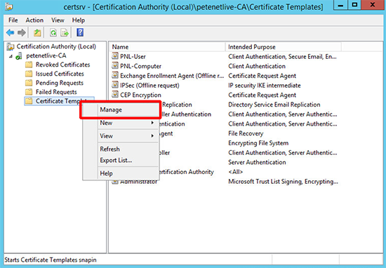 PKI Manage Certificates