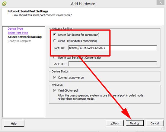 VMware telnet to serial port