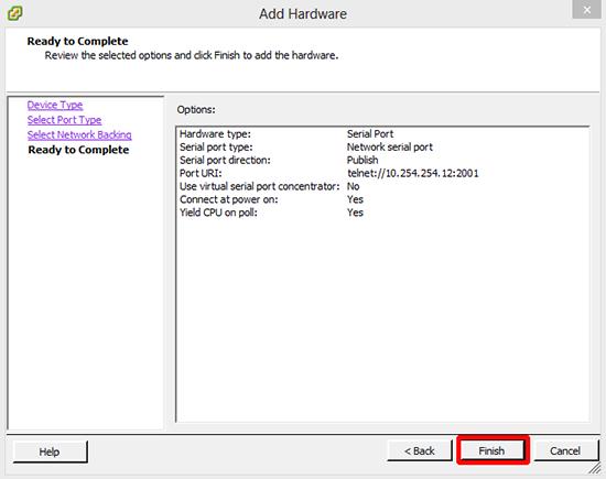 VMware Add Serial Connector