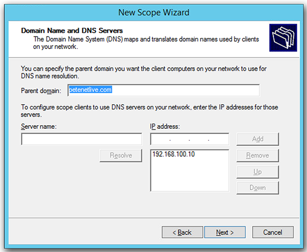 dhcp scope DNS