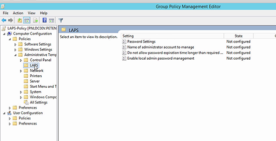 Microsoft LAPS Deployment - Settings