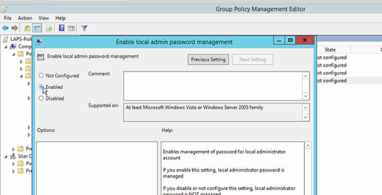 Microsoft LAPS Deployment - GPO Settings