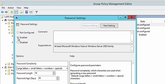 Microsoft LAPS Deployment - Password Settings