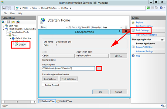 Cert Services IIS settings