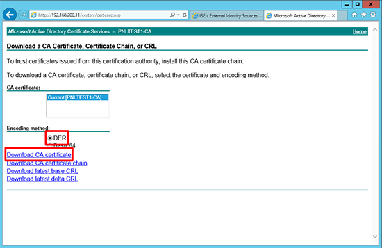 Cisco ISE CA Cert