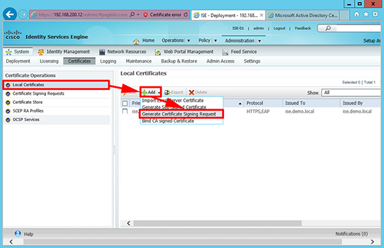 Cisco ISE Generate cert signing request