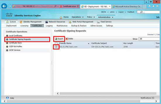 Cisco ISE Export PEM