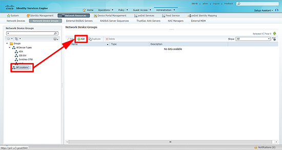 Cisco ISE Add Location