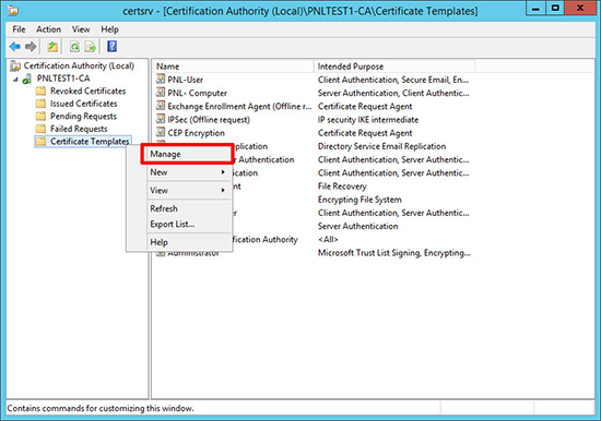 Server 2012 Manage Certificate Templates