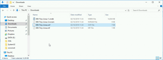 Exported OVF file location