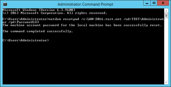 Netdom reset domain controller machine password