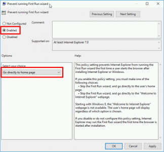 Group Policy Disable IE First Run