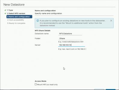 Create NFS Windows Datastore vSphere