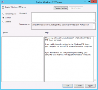 Enable windows NTP Server