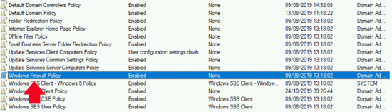 SBS Firewall Group Policy
