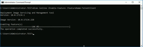 Windows 10 Enable Telnet