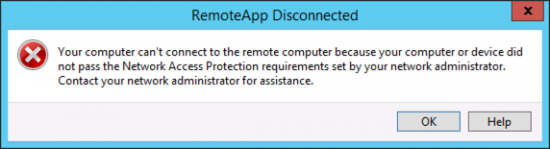 Remote Network Access Protection Error