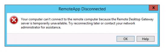 RemoteApp Error Gateway