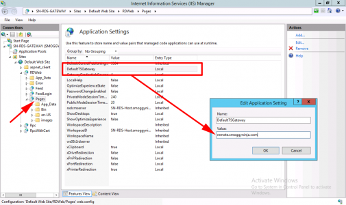 IIS Settings remote desktop gateway