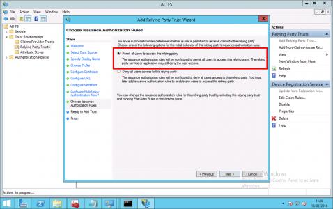 User Permissions ADFS